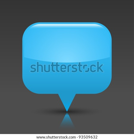Blue glossy empty blank map pin button. Rounded rectangle web icon with black shadow and color reflection on dark gray background. This vector saved in 8 eps. See more buttons in my gallery
