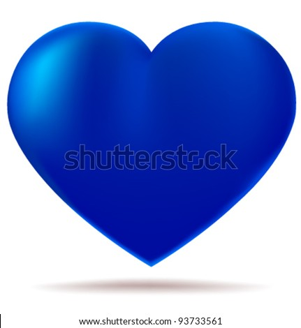 Blue glossy heart isolated on white background