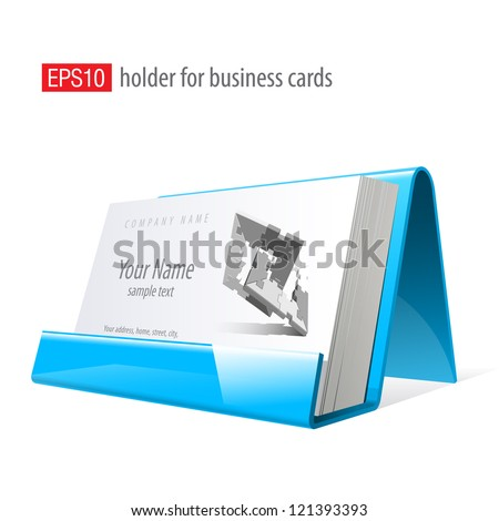Blue Glossy holder for business cards. Vector Illustration