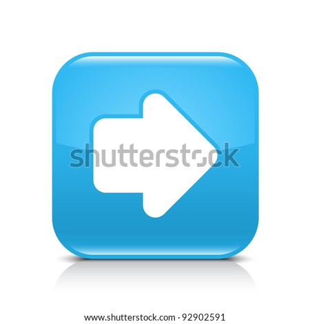 Blue glossy internet button with arrow right symbol. Rounded square shape icon with shadow and reflection on white background. This vector illustration created and saved in 8 eps