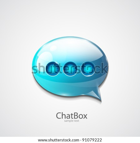 Blue glossy speech bubble icon