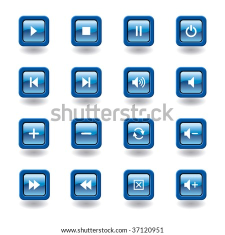blue glossy square multimedia icons / buttons - easy to edit