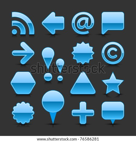 Blue glossy web button set with black shadow and dark reflection on gray background