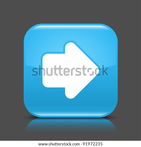 Blue glossy web button with arrow right sign. Rounded square shape icon with black shadow and colored reflection on dark gray background. This vector illustration created and saved in 8 eps