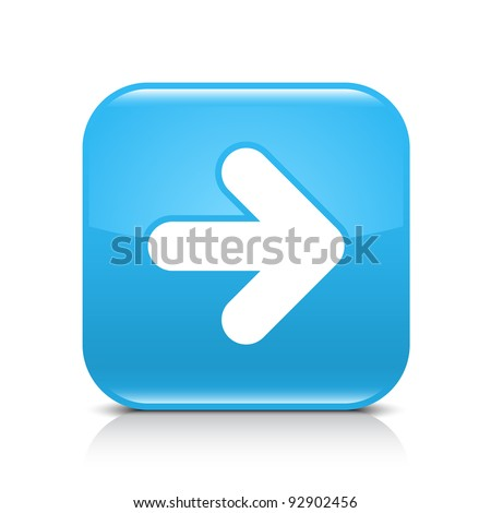 Blue glossy web button with arrow right sign. Rounded square shape icon with shadow and reflection on white background. This vector illustration created and saved in 8 eps