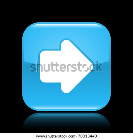 Blue glossy web 2.0 button with arrow sign. Rounded square shape with reflection on black background