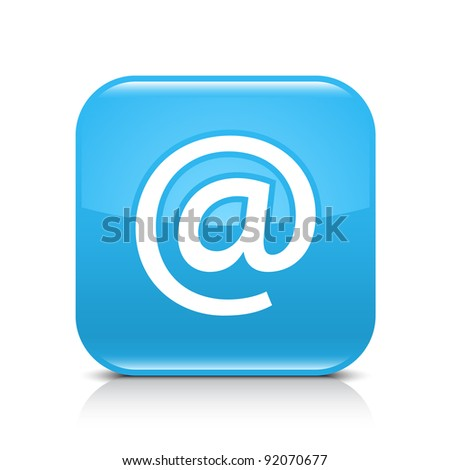 Blue glossy web button with at sign. Rounded square shape icon with shadow and reflection on white background. This vector illustration created and saved in 8 eps