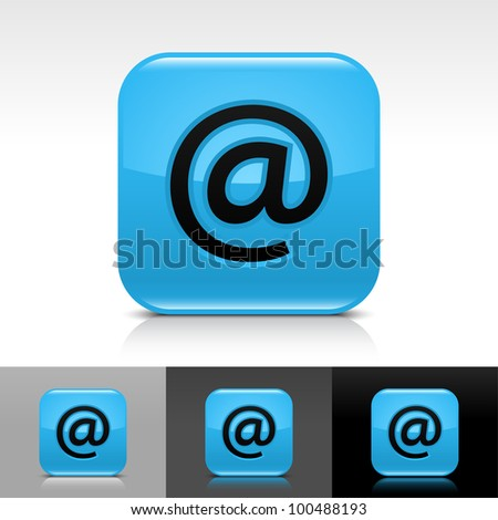 Blue glossy web button with black at sign. Rounded square shape icon with shadow and reflection on white, gray, and black background. Vector 8 eps.