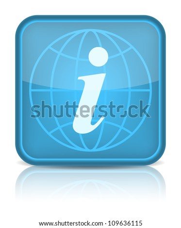 Blue glossy web button with information sign. Rounded square shape icon on white background. 10 eps