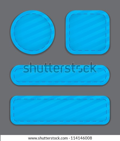 Blue glossy web element set. Vector illustration - stock vector