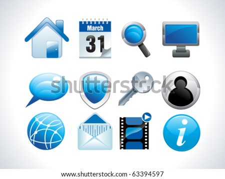 blue glossy web icons vector illustration - stock vector