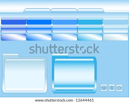 Blue glossy website template with buttons and banners and text window