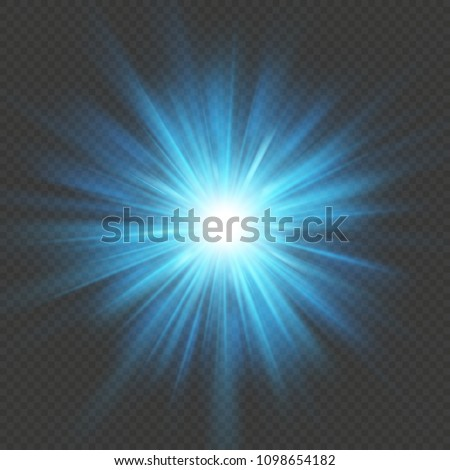Blue glow star burst flare explosion light effect. Isolated on transparent background. EPS 10 vector file