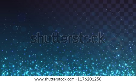 Blue glowing dust from below, sparks on a transparent background, lights