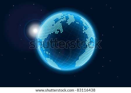 Blue glowing Earth, illustration