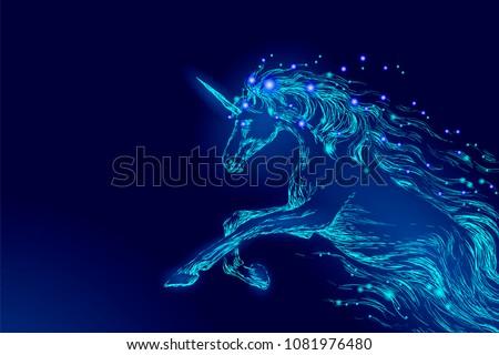 blue glowing horse unicorn