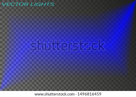 Blue glowing light explodes on a transparent background, bright flash. Vector glows with northern lights.