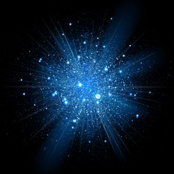 Blue glowing light glitter background effect. Magic glow sparkling texture. Magical star dust sparks light effect in explosion on black background. Vector Illustration