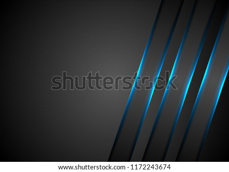 Blue glowing stripes abstract tech background. Vector design