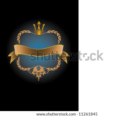 Blue & Gold Crest Label ideal for any packaging design (VECTOR)