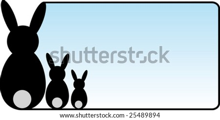 blue gradient easter card in landscape format with three black rabbits on the left