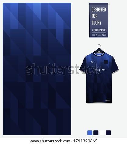 Blue gradient geometry shape abstract background. Fabric textile pattern design: soccer jersey football kit racing e-sport basketball sport uniform. T-shirt mockup template design. Vector Illustration