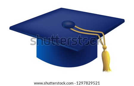 Blue Graduation Cap Vector