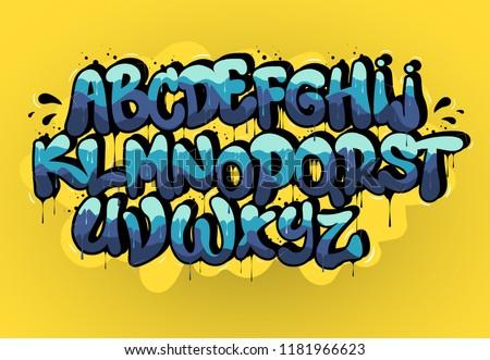 Blue graffiti font on yellow background