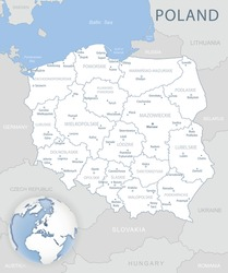 Blue-gray detailed map of Poland and administrative divisions and location on the globe. Vector illustration