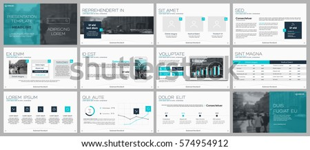 Blue green and grey elements for infographics on a white background. Presentation templates. Use in presentation, flyer and leaflet, corporate report, marketing, advertising, annual report, banner.