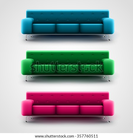 blue  green  and pink couches