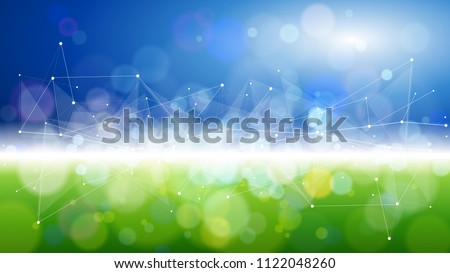 blue green bokeh - environment ecology concept - abstract image of grass & sky connected by a white digital wave created from points and lines - as an image of innovation, modern technology & science