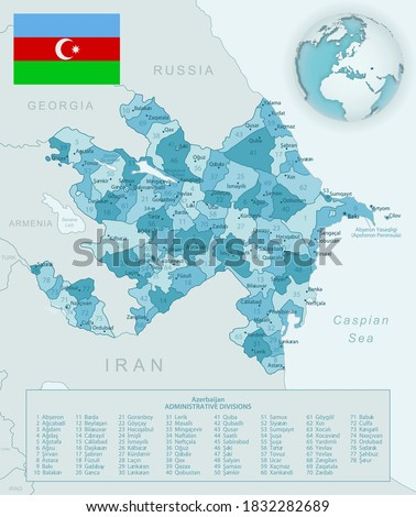 blue green detailed map of