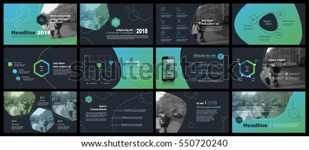 Blue-green elements of infographics on a dark background. Use in presentation templates, flyer and leaflet, corporate report, marketing, advertising, annual report and banner.