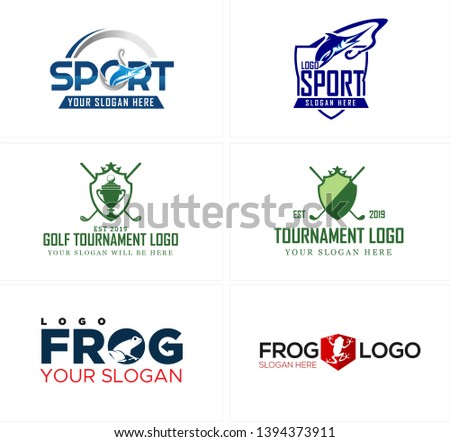 Blue green line art badge logo design fish with stick golf and icon frog suitable for sports fishing tournaments championships race
