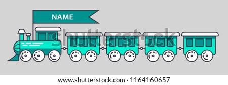 blue green locomotive a train cartoon, child, vector, name and color changed