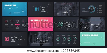 Blue Green Pink color elements on a dark background. This template is the best as a business presentation, used in marketing and advertising, the annual report, flyer and banner