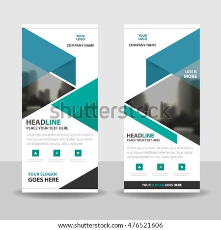 Blue green triangle roll up business brochure flyer banner design , cover presentation abstract geometric background, modern publication x-banner and flag-banner, layout in rectangle size.