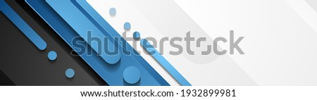 Blue, grey and black geometric abstract banner. Hi-tech vector background
