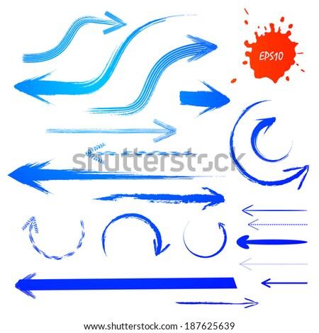 Blue grunge arrows set. Vector illustration.