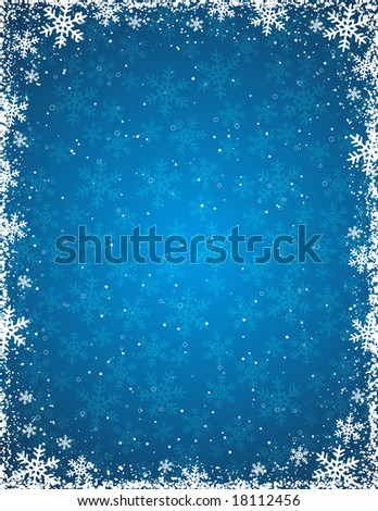 blue grunge christmas background, vector illustration