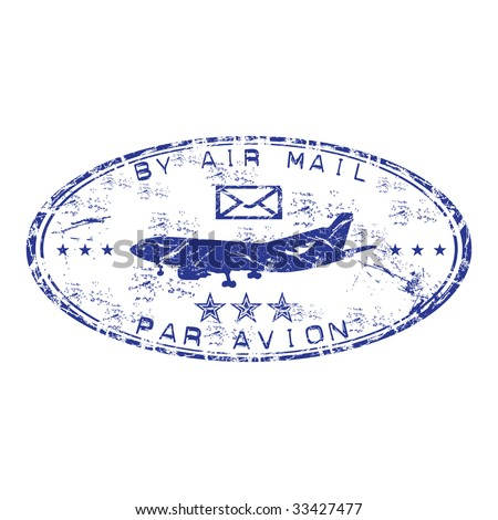 Blue grunge oval rubber stamp with plane shape and and the text by air mail written inside the stamp. Par avion stamp