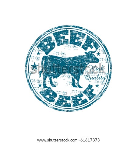 Blue grunge rubber stamp with a cow silhouette and the word beef written inside the stamp