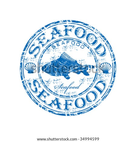 Blue grunge rubber stamp with fish shape and the word seafood written inside the stamp