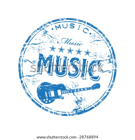 Blue grunge rubber stamp with guitar shape and the word music written inside the stamp