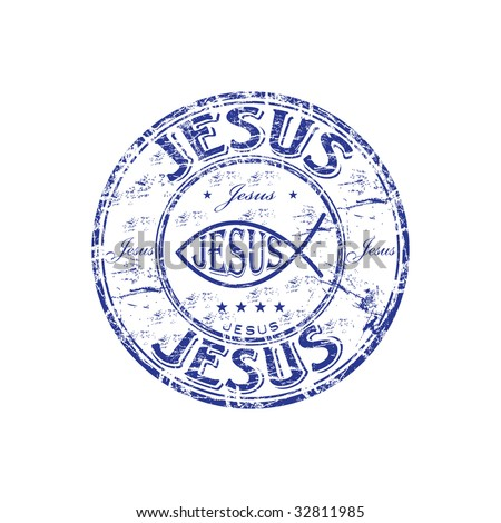 Blue grunge rubber stamp with Jesus fish symbol