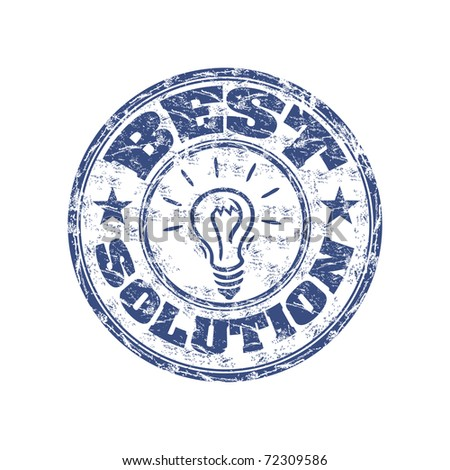 Blue grunge rubber stamp with light bulb and the text best solution written inside the stamp