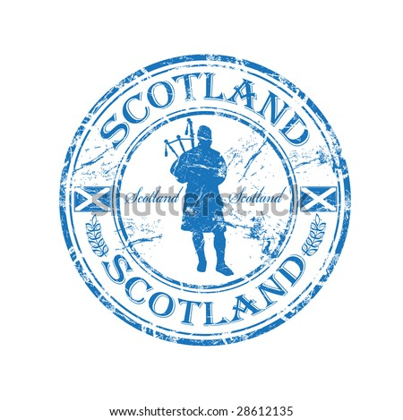 Blue grunge rubber stamp with man silhouette playing the bagpipes and the name of Scotland written inside the stamp