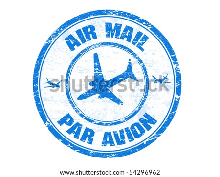 Blue grunge rubber stamp with plane shape and the text air mail, par avion written inside the stamp