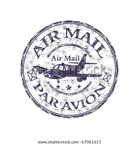 Blue grunge rubber stamp with plane shape, and the text air mail, par avion written inside the stamp
